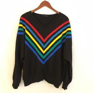 Vintage Early 80's v Neck Sweatshirt sz L 44